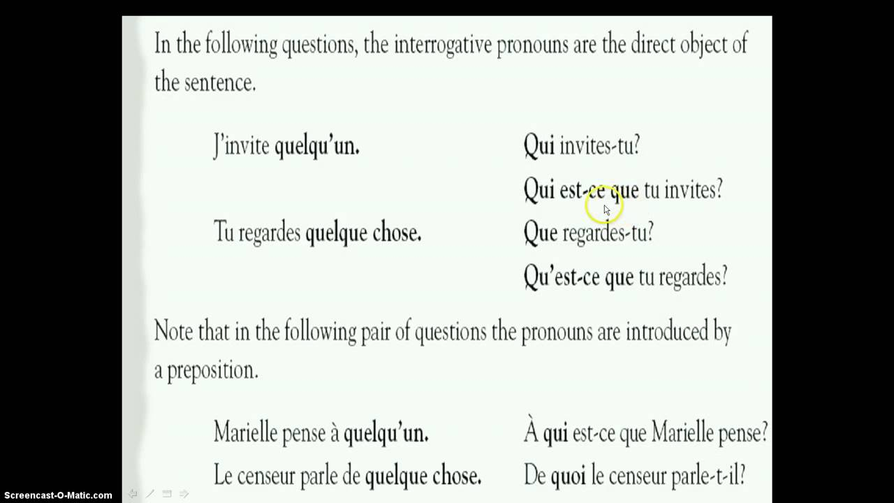 French 3 interrogative pronouns - YouTube
