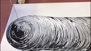 Fluid Painting Acrylic Pouring! Super EASY Black and White only!! Tree Ring Pour. Wigglz Art!!