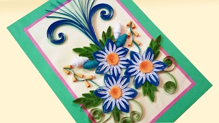 Paper Quilling Card 🌹How to make Beautiful Quilling Flowers Design for Happy Birthday Card(, 2017-02-16T11:30:00.000Z)