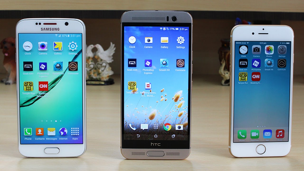 HTC One M9 Plus vs Galaxy S6 vs iPhone 6 Speed Test - YouTube