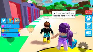 Playing bubble gum simulator in Roblox