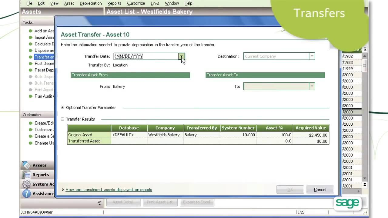 sage fixed assets depreciation youtube