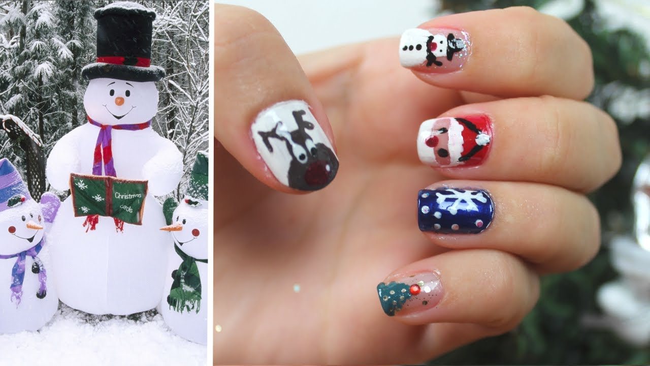 Nail Art De Noel 5 Dessins Faciles A Reproduire Youtube