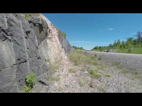 Exploring Highly Mineralized Road Cut in Ontario HWY 69