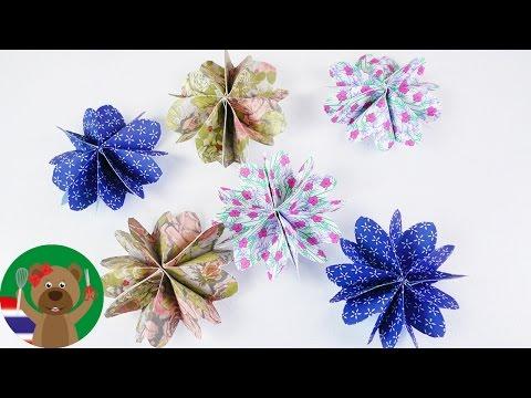 DIY ดอกไม้กระดาษ | ดอกไม้กระดาษพับเอง | ของตกแต่งจากกระดาษออริกามิ