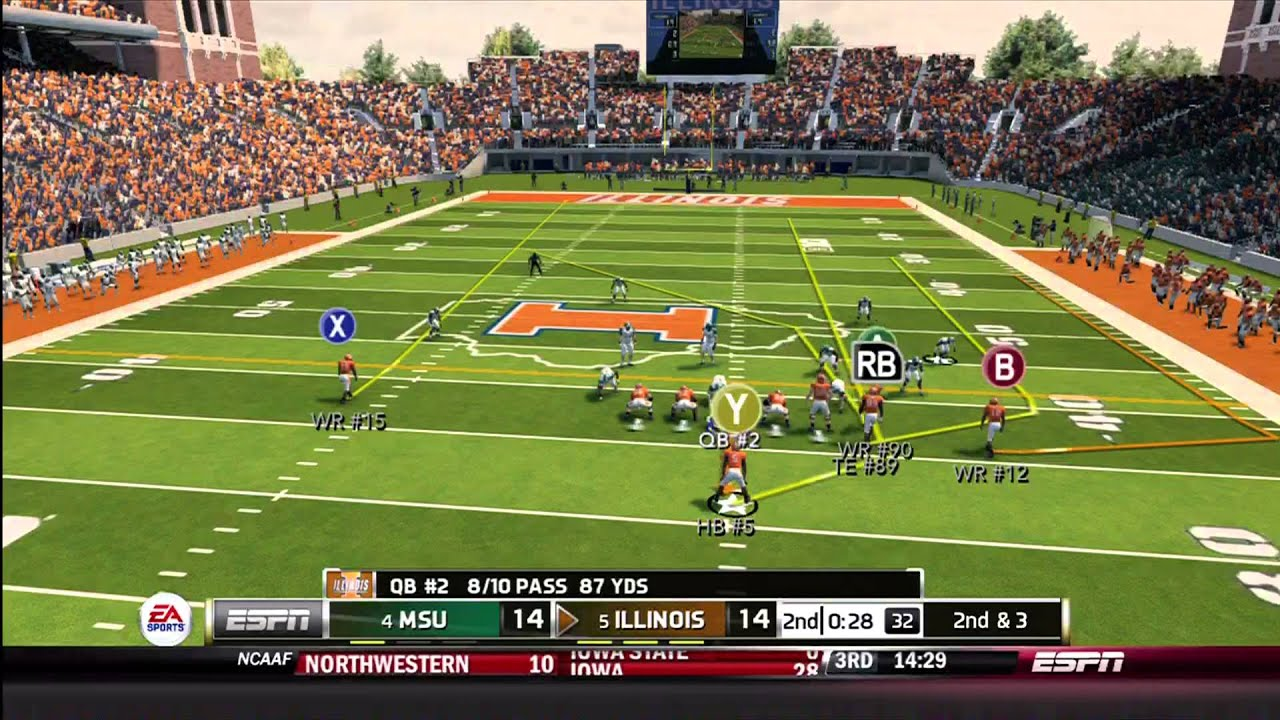 NCAA Football 14 Gameplay: Illinois vs. Michigan State (Xbox 360 ...
