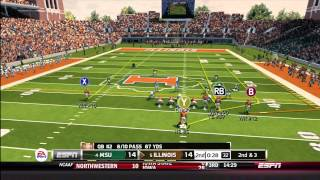 NCAA Football 14 Gameplay: Illinois vs. Michigan State (Xbox 360)