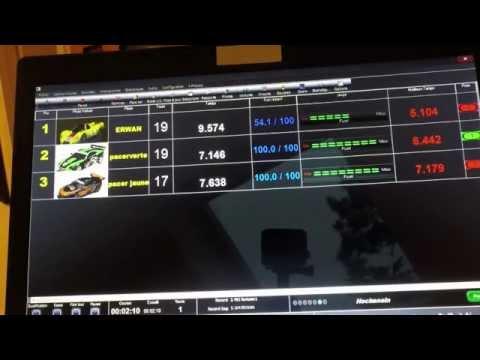 Circuit scalextric avec pit pro de luxe et Pc lap counter