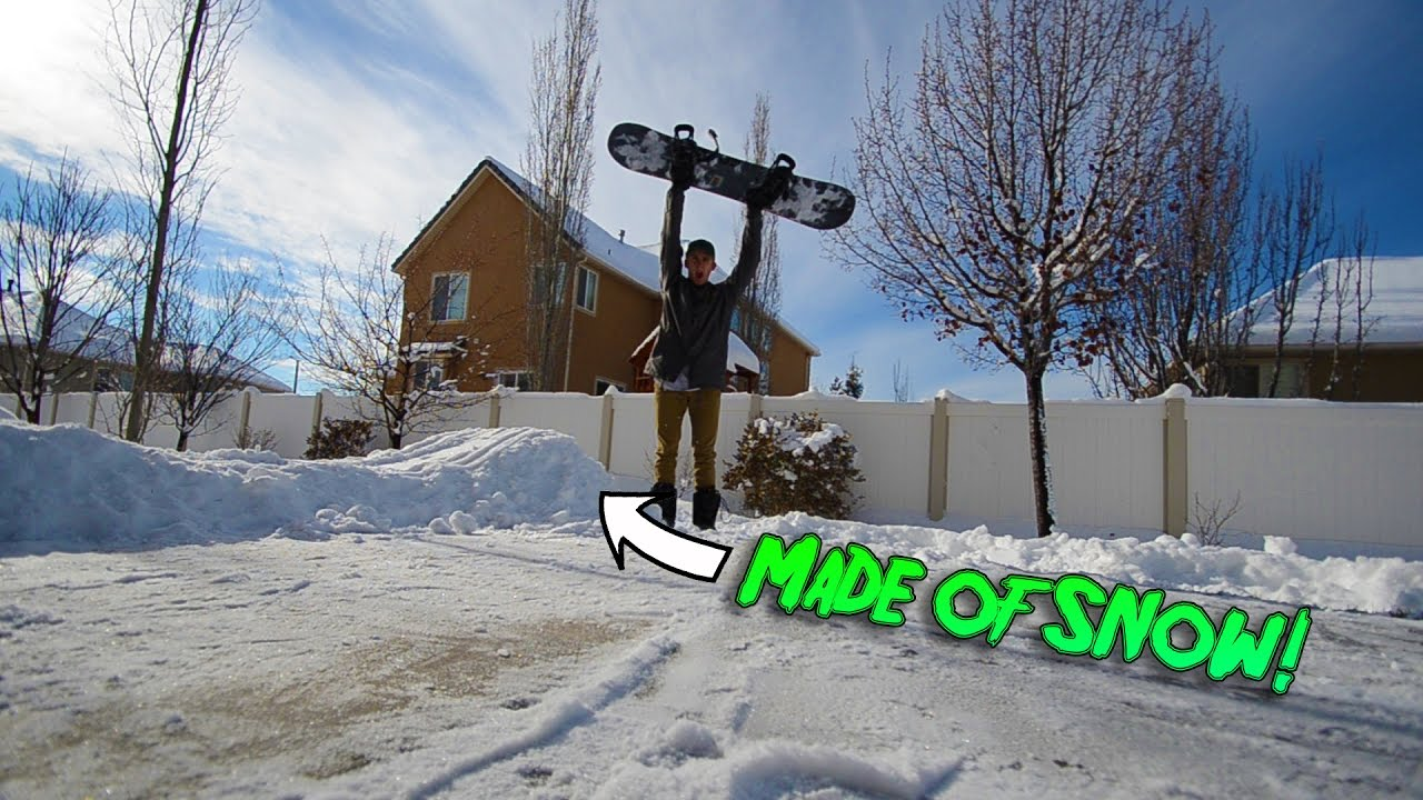 BACKYARD SNOWBOARD JUMP!!!