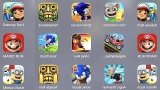 Subway Surfer,Tom Gold Run,Sonic Forces,Temple Run 2,Mario Run,Angry Grand Racing,Ninja Run