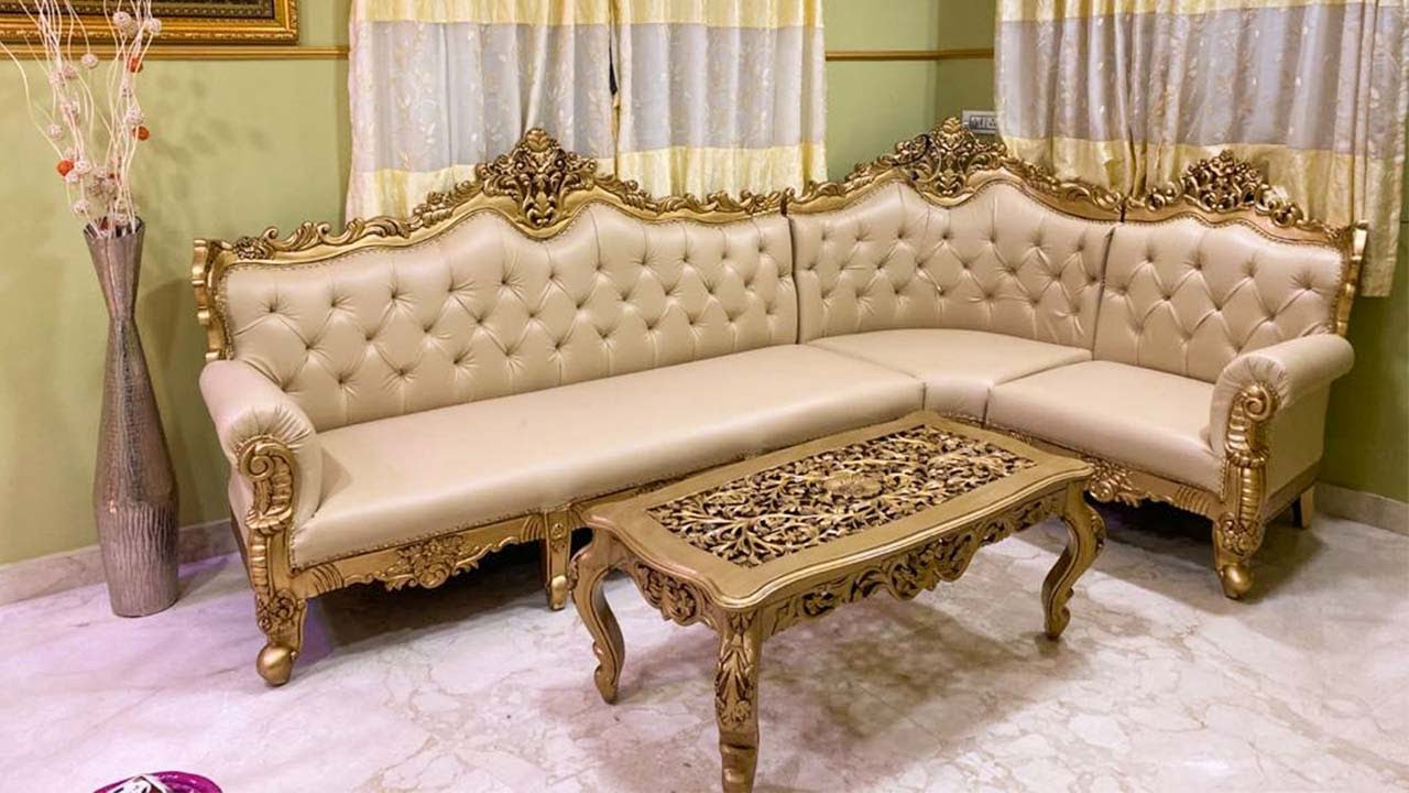 173 Stylish Corner Sofa Designs With Gold Paint For Living Room L Shaped Sofa Aarsun Woods Youtube