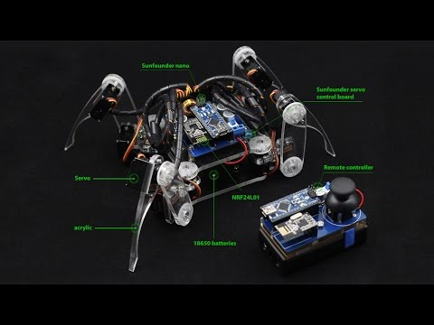 Arduino Electronics Spider Quadruped Robot Kit with Servo Control Board and Nano, Remote Control