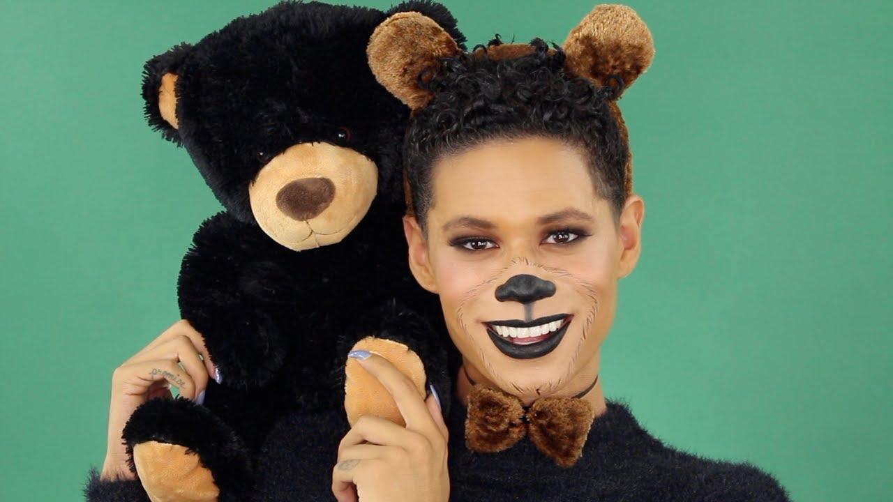 Макияж медведя на лице фото