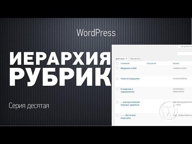 Основы WordPress. Серия десятая. Иерархия рубрик