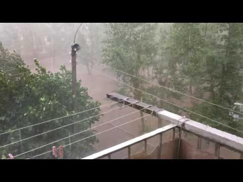Град, ливень, сильный ветер, Забайкальский край город Борзя 17.07.16г.