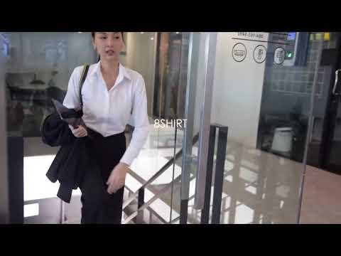 เสื้อเชิ้ตผู้หญิงสีขาว เข้ารูป Lady Boss เสื้อเชิ้ตทำงาน แบรนด์ 8SHIRT slim fit shirt