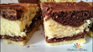 Soft Marble Butter Cake / Simple Marble Cake Recipe