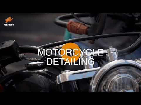 Steam detailing of motorcycle: dirt removal, rust cleaning and metal parts polishing, waxing