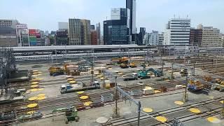 リニア中央新幹線の工事に備えるためのJR名古屋駅構内の在来線ホームの撤去作業工事 2019.6.1