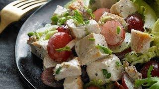 Легкий салатик с курицей и виноградом
