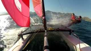 Hobie 16 Catamaran Sailing Puerto Pollensa Mallorca Spain with gennaker