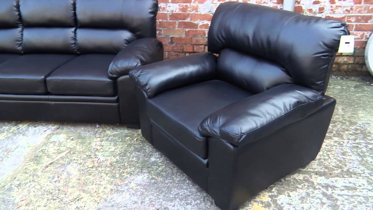Black Leather Sofa Suite 3 Plus 2 1 Seater Or Separate