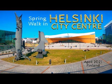 Spring Walk in Helsinki City Centre, April 2021, Finland [4K]
