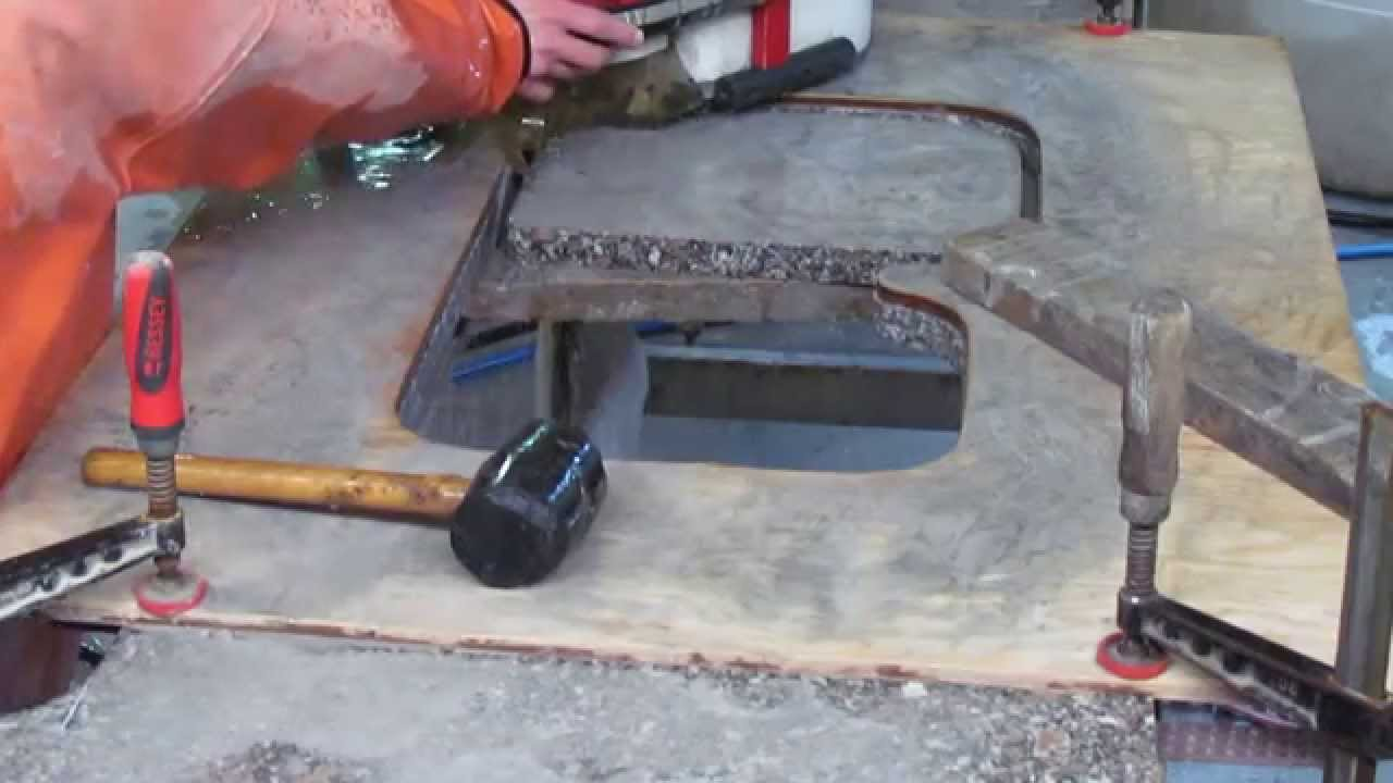 cutting a sinkhole in granite with a antarex hydraulic. Black Bedroom Furniture Sets. Home Design Ideas