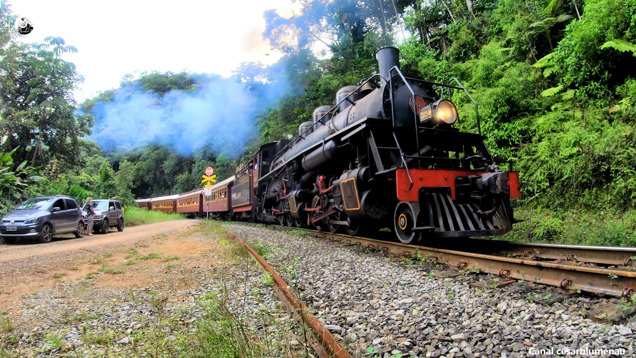 🇧🇷 (4K) Locomotiva Mallet a todo vapor/Steam climbing the mountain / São Bento do Sul/SC  - (Brasil)