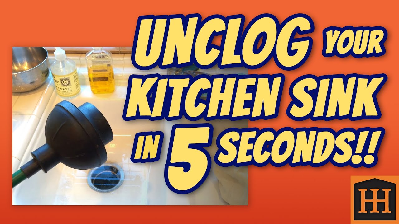 how to unclog kitchen sink in 5 seconds youtube - Kitchen Sink Tools
