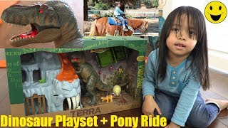 Dinosaur Playset. T-Rex Dinosaur Toy Unboxing. Surprise Egg Unboxing. Pony Ride and Train Ride
