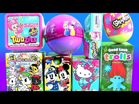 Surprise Toys Twozies Baby Unicornos Trolls Shopkins Egg Season 5 Squinkies Mickey Minnie Princesses
