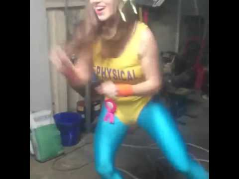 80s Aerobics Girl In Yellow Leotard And Blue Tights