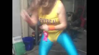 80's Aerobics Girl In Yellow Leotard And Blue Tights