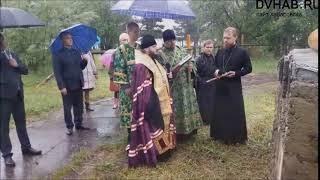 На Набережной Комсомольска освятили строящийся храм