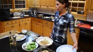 Katie Cooking Salmon