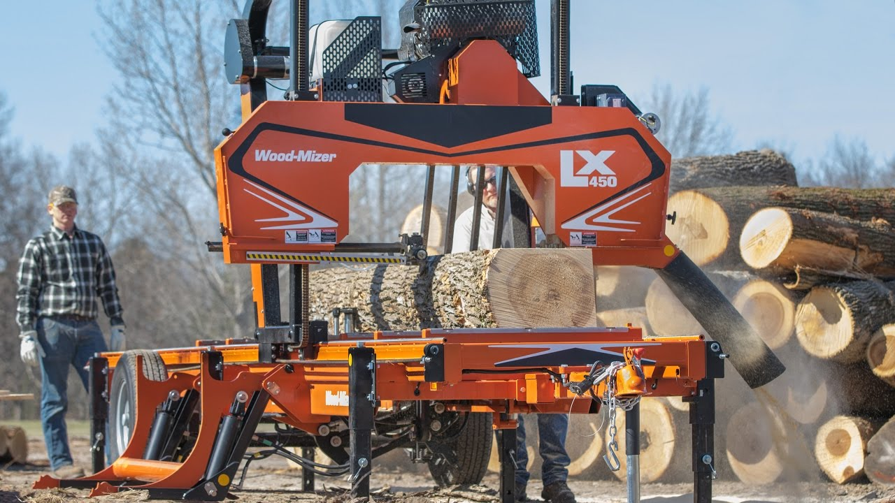 Woodmizer Sawmill For Sale >> Lx450 Twin Rail Portable Sawmill In Action Wood Mizer