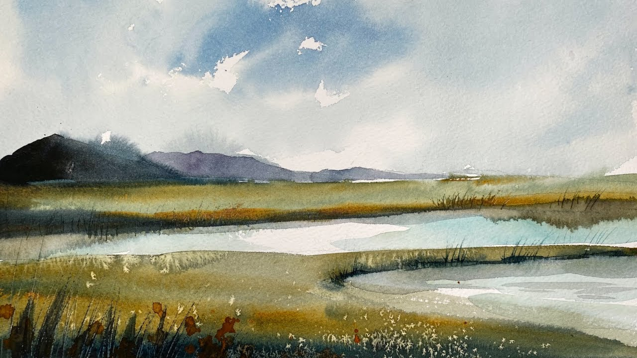 Simple Watercolour Landscape Painting Using Only One Brush