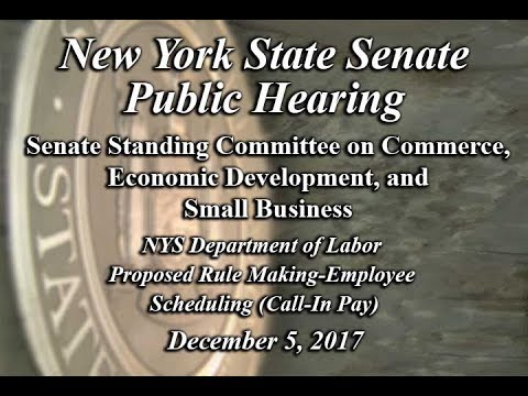 NYS Senate Public Hearing on Department of Labor Proposed Rule Making-Employee Scheduling - 1/4/18