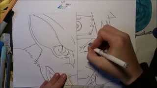 How to draw:Naruto and Kyubi (half/half)