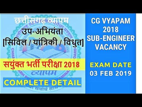 CG VYAPAM Sub Engineer Recruitment Exam 2018/19 |सयुंक्त भर्ती परीक्षा 2018| Job Ping