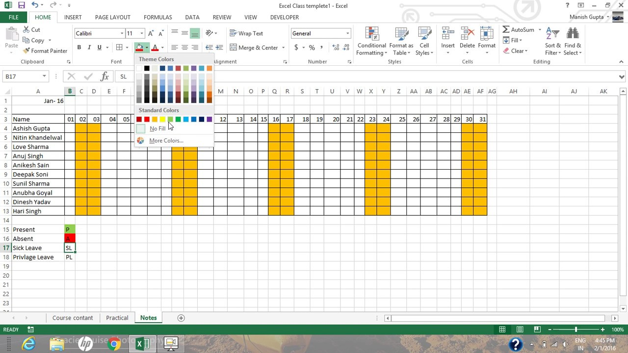 How to create Auto update attendance tracker in excel 2013 - YouTube