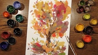 Speed Painting | Autumn Tree in Technique Monotype #2 | Gouache