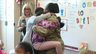 Military mom's early homecoming surprises her kids at school