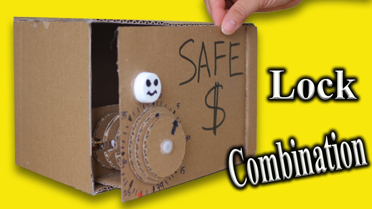 Make Piggy Bank Safe From Cardboard Diy Easy Box With Combination Lock Pword Protected