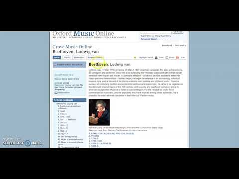 Oxford Music Online Advanced Tutorial