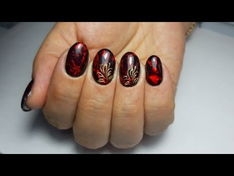 Дизайн ногтей на клиенте/Фольга для литья/Маникюр гель лаком/Вензеля на ногтях.