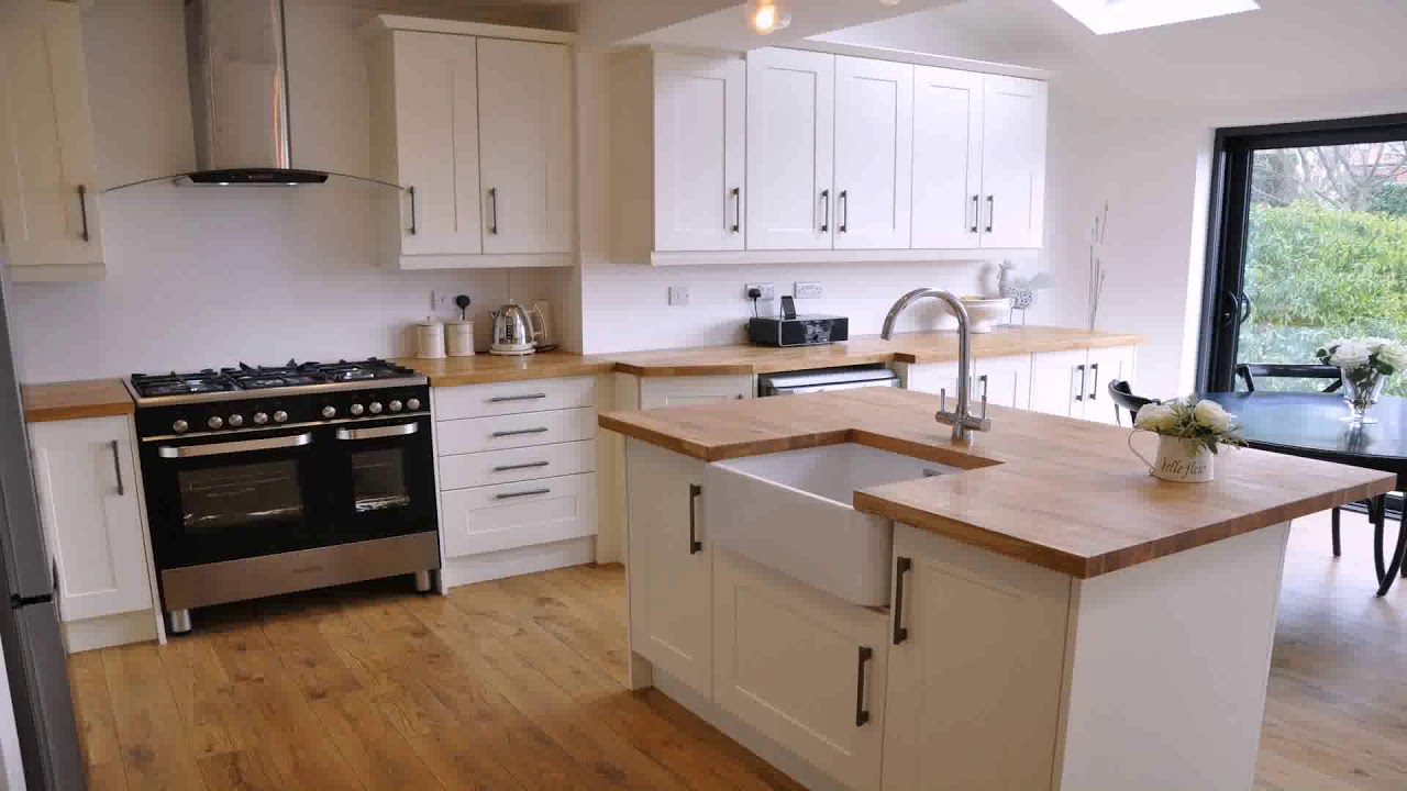 Kitchen White Cabinets Oak Worktop
