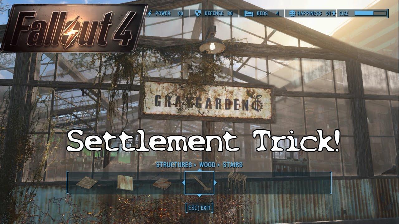 fallout 4 tips - grey garden settlement trick - youtube