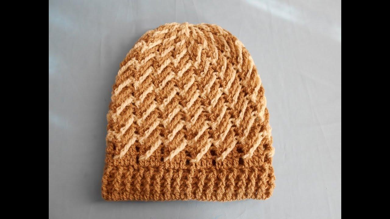 946bb083282e Gorro para hombre a crochet / punto diagonal a crochet y/o ganchillo